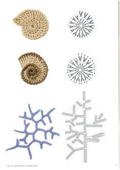 New Crochet Flowers Pattern Diagram Ganchillo 26 Ideas Crochet Seashell Applique, Appliques Au Crochet, Crochet Fish, Mode Crochet, Crochet Leaves, Freeform Crochet, Crochet Diagram, Crochet Art, Crochet Motif