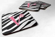 Set of 4 Monogram - Zebra Stripe and Pink Foam Coasters Initial Letter V