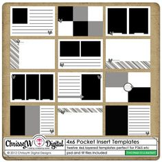 4x6 Pocket Insert Templates by ChrissyW - Two Peas in a Bucket
