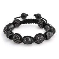 Black skull macrame bracelet,-- on sale!