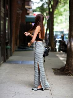 black tank + stripe maxi skirt