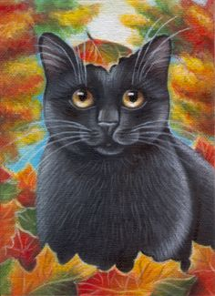 Black Cat Fall Painting