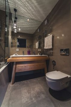 Awesome Spacious Kiev Apartment Design : Awesome Spacious Kiev Apartment Design With Wooden Washbasin And White Toilet And Concrete Floor Design