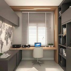 Modern grey home office with light wood accents. Simple and modern home office design using grey cabinetry and light wood accents. Small Home Offices, Small Office, Front Office, Modern Home Offices, Home Office Setup, Home Office Space, Office Ideas, Office Interior Design, Office Interiors