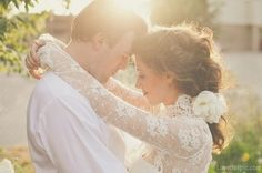 I thee wed love wedding dress outdoors sun couple bride groom