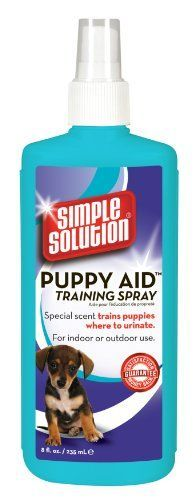 $6.99-$6.99 Potty training aid for puppies is a scientifically formulated attractant. Using this product will help train a puppy to urinate in the appropriate area. It is made for both outdoor and indoor use. For inside dogs, simply spray the product on newspaper or a puppy training pad to attract the animal to the spot.