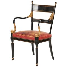 Regency Style Lacquered and Parcel Gilt Leather Arm Chair, 20th Century   From a unique collection of antique and modern armchairs at https://www.1stdibs.com/furniture/seating/armchairs/