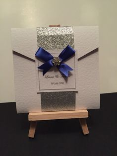 Meet 'Rebecca' a pocket fold invite with silver glitter wrap around and cute bow with diamanté detail each and includes envelope, three inserts and addressed rsvp envelope also. Invitation Examples, Invite, Invitations, Cute Bows, Silver Glitter, Rsvp, Color Schemes, Envelope, Gift Wrapping