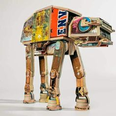 Star Wars At-at Walker Made from Repurposed Skateboard Decks 1001 Pallets, Recycled Pallets, Recycled Art, Repurposed, Diy Skate, Draw Character, Art Grunge, Skateboard Deck Art, At At Walker
