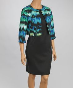 Loving this AGB Dress Blue Abstract Jacket & Dress - Plus on #zulily! #zulilyfinds
