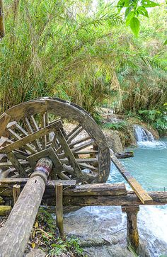 """Windmill "" by TravelPod blogger momentsintime from the entry ""An afternoon spent at the Kuang Si Waterfalls!"" on Wednesday, February 19, 2014 in Louangphabang, Lao Peoples Dem Rep"