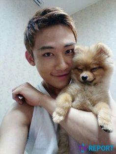 U-KISS AJ with puppy