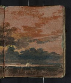 Joseph Mallord William Turner 'Study of a Cloudy Sunset Sky over Dark Sea, with a Ship in Sunlight', Watercolor Clouds, Watercolor Landscape Paintings, Oil Paintings, Joseph Mallord William Turner, Georges Seurat, Pierre Auguste Renoir, Monet, Dark Landscape, Sketches