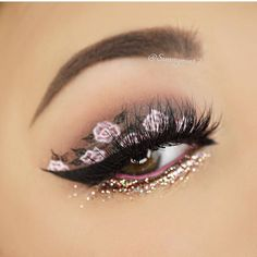 Floral Eye Makeup With Rose Gold Glitter
