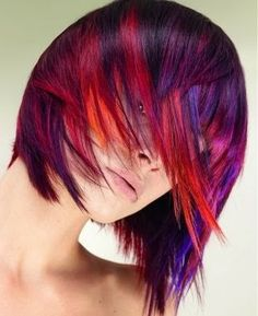 medium black straight coloured red highlights Multi-Tonal hairstyles for women