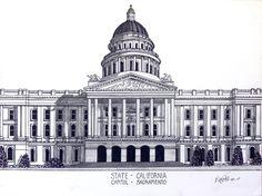 California State Capitol building in Sacramento.  More  info at http://frederic-kohli.artistwebsites.com.