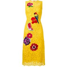 Dolce & Gabbana embellished lace dress ($8,645) ❤ liked on Polyvore featuring dresses, yellow, knee length dresses, sleeveless dress, yellow cocktail dress, yellow lace dress and embellished dress