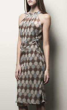 Alberta Ferretti Brown, White, Sky Blue Chiffon Dress .                                     Desiree this would look nice on you.