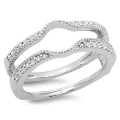 Share for $20 off your purchase of $100 or more! 0.25 Carat (ctw) 14K White Gold Round Cut Diamond Ladies Anniversary Wedding Band Enhancer Guard Double Ring 1/4 CT - Dazzling Rock #https://www.pinterest.com/dazzlingrock/