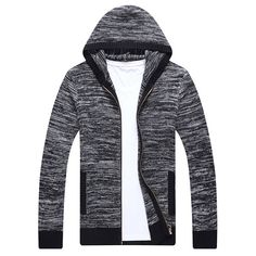 Mens Zip Up Knitting Hooded Cardigans