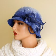 Blue hat Felted hat blue felt hat decorated  with bead embroidery merino wool hat elegant hat navy blue hat. $90.00, via Etsy.