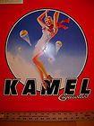 21.5 Sq. Metal Sign Kamel Camel Cig. Parachuting Skydiver Pin-Up Girl NOS - 21.5quot, Camel, Cig., girl, Kamel, Metal, Parachuting, pinup, Sign, Skydiver