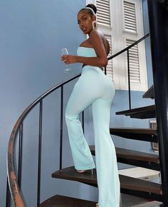 All White Party Outfits, White Outfits For Women, White Flare Pants, Poses, Wide Leg Pants, Long Pants, Clubwear, Party Wear, Fashion Outfits