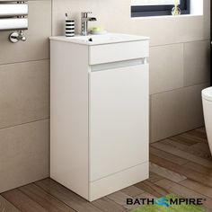 400mm High Gloss White Floor Standing Basin Cabinet | Trent - BathEmpire