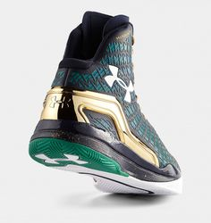 sale Under Armour ClutchFit Drive Notre Dame Dark Green Metallic Gold shoes 2015