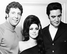 April 6, 1968. Tom Jones, Priscilla and Elvis backstage at the Flamingo Hotel, Las Vegas.