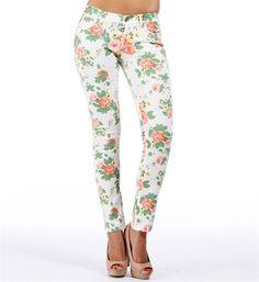 White Floral Print Skinny Jeans