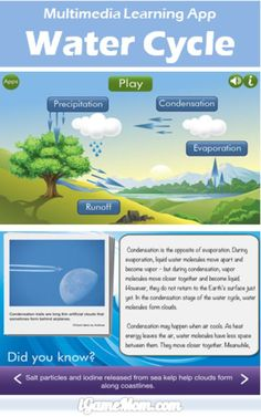 Multimedia Learning App About Water Cycle - make it easy to understand the science concepts. It is a great resource for water cycle activities and science experiments Science Classroom, Teaching Science, Science Education, Science For Kids, Earth Science, Science And Nature, Science Resources, Science Lessons, Science Activities