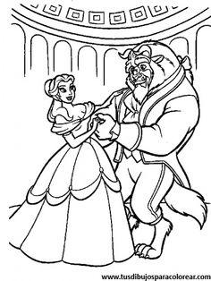 Cuentos infantiles La Bella y la Bestia para colorear Dibujos