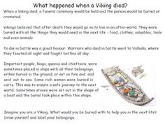Viking burials - Worksheets on Viking burial rituals and beliefs.