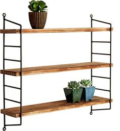 online shopping for MyGift Modern Industrial Metal & Torched Wood Adjustable Wall Mounted Shelf from top store. See new offer for MyGift Modern Industrial Metal & Torched Wood Adjustable Wall Mounted Shelf Modular Shelving, Adjustable Shelving, Torch Wood, Metal Shelves, Wood Shelf, Utility Shelves, Wall Shelving, Open Shelving, Shelving Units