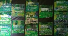 My students impression of Monet's Water Lilies with our school's art teacher, Mrs. Wallert.
