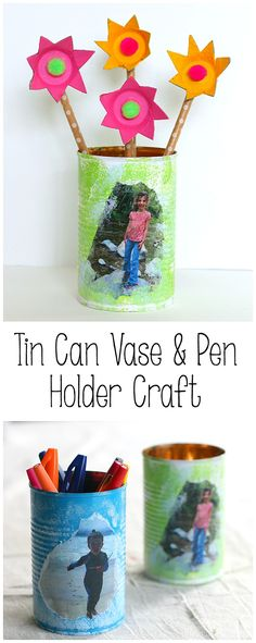 Personalized Tin Can Craft for Kids: Easy homemade gift idea for kids to make for Mother's Day or Father's Day! Make it a pencil holder, vase, or a planter! ~ BuggyandBuddy.com