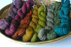 hand spun, hand dyed wool yarn by Emu