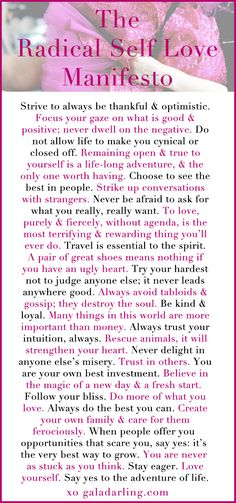 """Strive to always be thankful and optimistic..."" The Radical Self Love Manifesto"