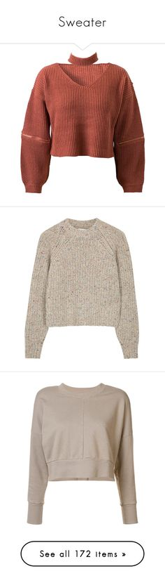 """""""Sweater"""" by tacoxcat ❤ liked on Polyvore featuring tops, sweaters, shirts, crop tops, brown crop top, crop top, v-neck sweater, knit crop top, cropped knit sweater and clothing - ls tops"""