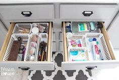 Instead of starting your day by running late (again), dedicate one drawer to makeup, one to cleaning products, and your entire morning to maximum effectiveness. See more at The Summery Umbrella »   - HouseBeautiful.com