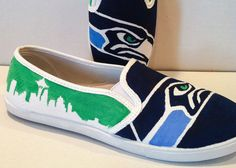 Hand Painted Seattle Seahawks Canvas Shoes Womens by LeilaniSmiles