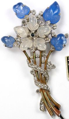 Trifari 'Alfred Philippe' Sapphire and Moonstone Fruit Salad Five Pointed Flower Floral Spray Pin Clip
