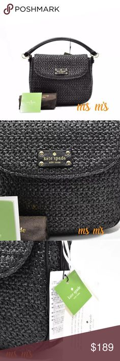 """Nwt Kate Spade Straw Crossbody Bag SMALL Purse SIZE  Approx: Bottom 9'', open 8.25''(L) x 7''(H) x 2.8""""(d)  Handle 4.5'', crossbody strap 20''  MATERIAL  textured weave with soft pebbled cow leather trim    DETAILS  crossbody bag with magnetic flap closure and adjustable strap  interior zipper pocket  embossed kate spade new york signature and light gold spade stud  Dust bag included  This is not a outlet product!! kate spade Bags Crossbody Bags"""