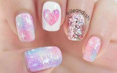 ✦ Pink Galaxy Nails ✦ Pink Galaxy Nails (no nail art tools needed, just a striper and some tape) // elleandish. Pastel Nail Art, Cute Nail Art, Cute Nails, Pretty Nails, Pink Art, Pastel Colors, Galaxy Nails, Pink Galaxy, Pastel Galaxy
