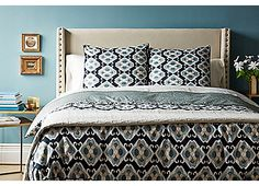 Ed Caprillo Double Duvet, Blue | Luxurious Italian Linens | One Kings Lane