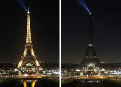 A combination of two images shows the Eiffel Tower with its lights on and off in Paris, France. The Eiffel Tower's lights were extinguished this evening in solidarity with those caught up in ongoing violence in the Syrian city of Aleppo. Chesnot / Getty Images