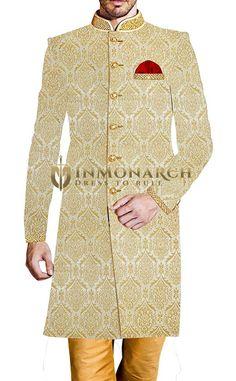 Mens Cream Kheenkhap 3 Pc Sherwani Indian Wedding #sherwani #weddingsherwani #groom #groomsherwani #indianweddingsherwani #ethnic #traditional #outfit