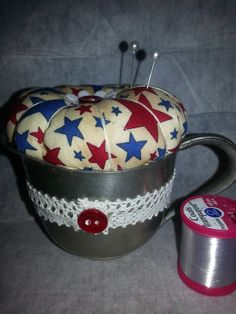 Pincushion in a vintage pewter cup https://www.etsy.com/listing/167972700/pincushion-in-a-pewter-cup-vintage-retro