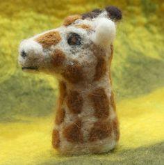 Giraffe Needle Felted Finger Puppet